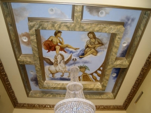 Ceiling Mural and faux marbre finish in soffit