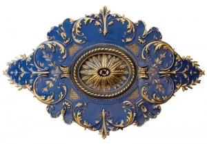 Diamond ceiling medallion finished in blue and gold