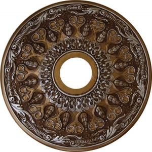 Decorative ceiling medallion finished in bronze, antique gold and silver