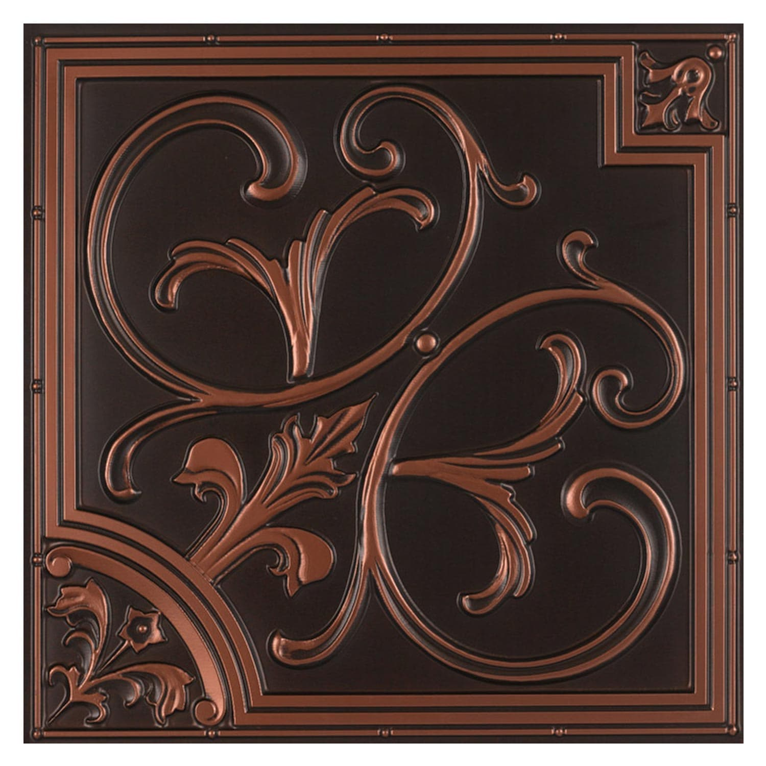 Ceiling Tile Lilies And Swirls Faux Tin Ctff 024