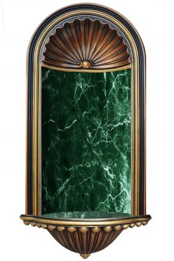 Hand painted wall niche in bronze, gold and faux green marble